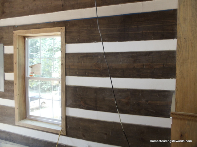 Log Wall in Living Room