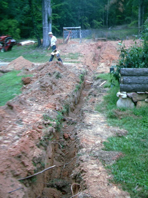Ditch for the sewer line