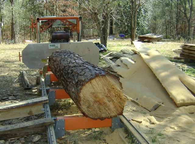 Load a log on the sawmill