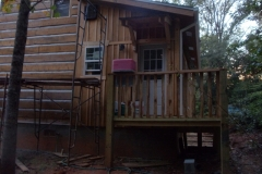 East Side of Cabin...after chinking thanks to church friends who came out and helped us last Saturday!