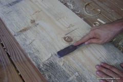 Chipping off the notches with a chisel